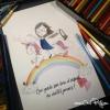 Peinture aquarelle illustration fait main jeune fille joyeuse licorne arc-en-ciel