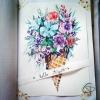 Peinture illustrée aquarelle fait main dessin cornet glace fleurs
