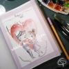 Illustration dessin original couple amoureux baiser coeur dessin fait main aquarelle