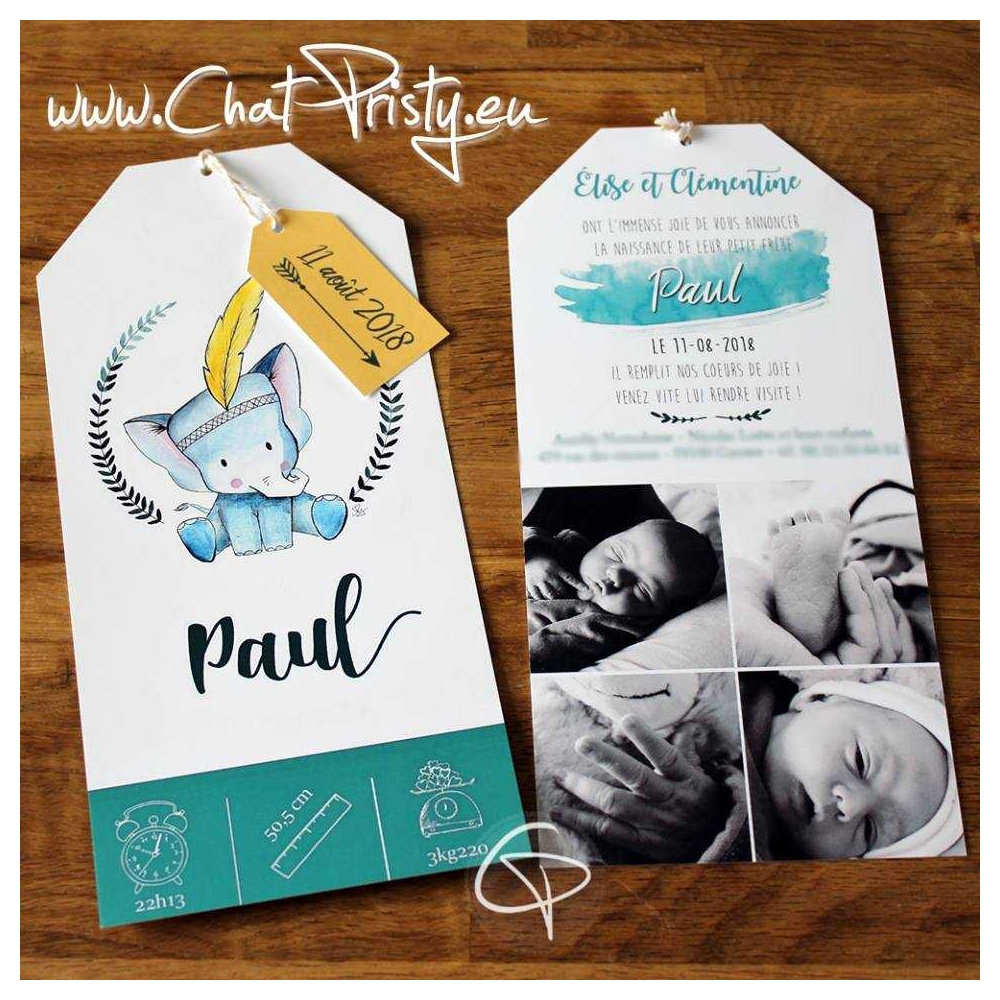 faire-part de naissance personnalisé bébé version papier dessin original sur demande