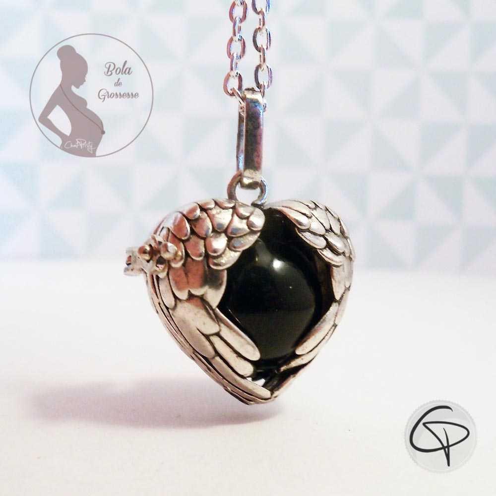 Bola de grossesse ailes d'ange en forme de coeur perle musicale noire bijou personnalisé femme enceinte