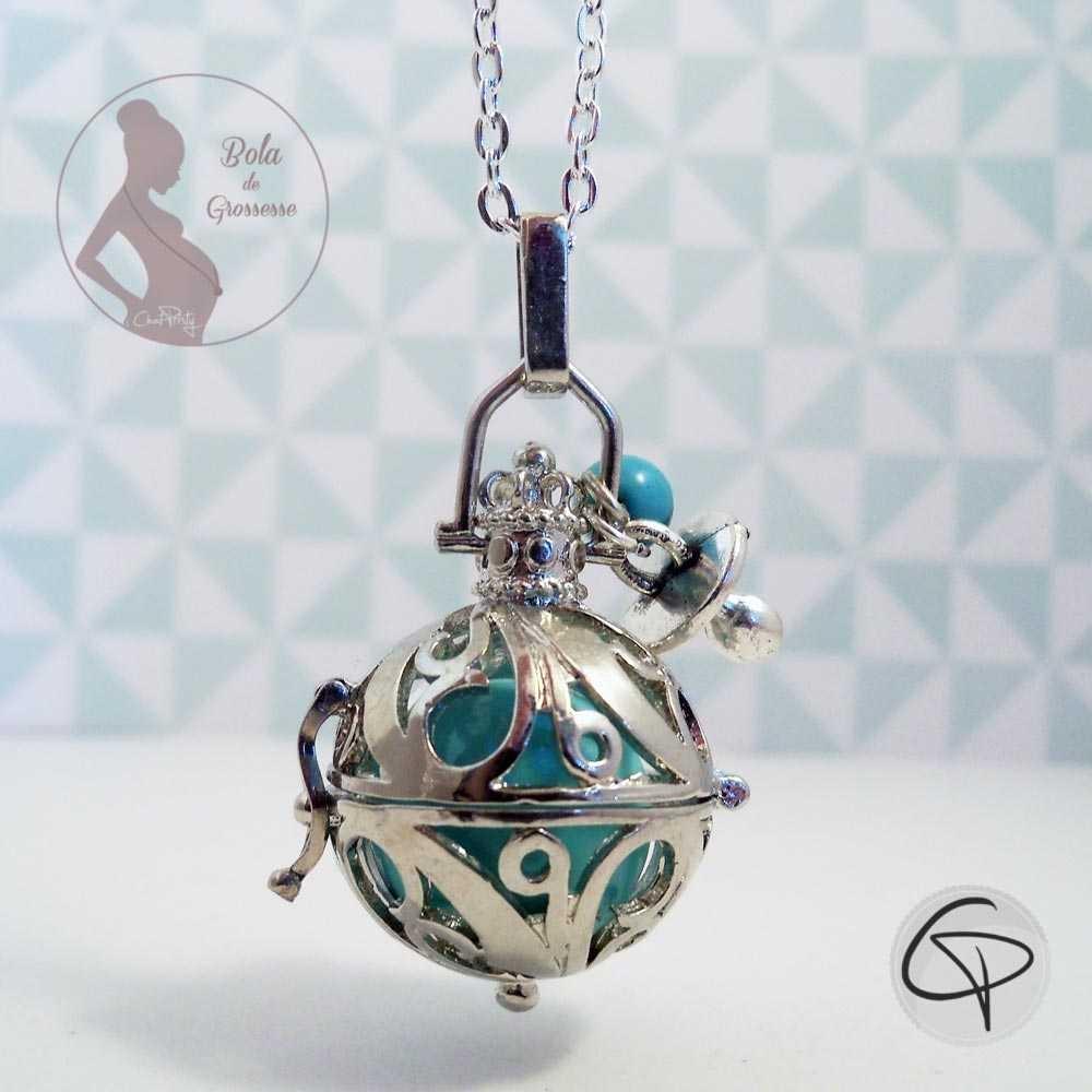 Bola de grossesse boule vert d'eau perle turquoise et tétine bola personnalisé bijou femme enceinte
