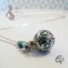 Bola de grossesse boule musicale vert d'eau perle bleu turquoise et tétine bola personnalisé bijou femme enceinte