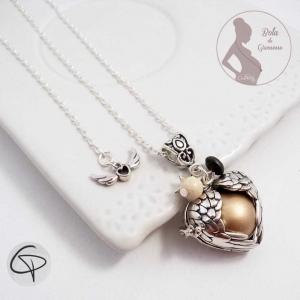 Bola de grossesse ailes d'ange en forme de coeur boule dorée bijou original femme enceinte