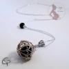 bola de grossesse boule et perle noires breloque fée argentée fait main Chat Pristy