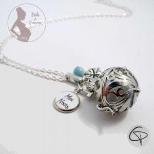 Bola de grossesse personnalisé mini nous grelot bleu-ciel trèfle bijou femme enceinte