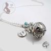bola de grossesse argenté médaillon personnalisé bijou perle bleu