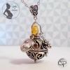 bola de grossesse à personnaliser boule musicale cuivre fleur et coeur bijou personnalisé femme enceinte