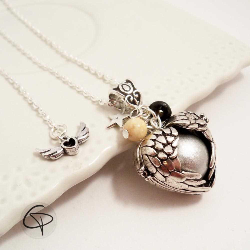 Bola de grossesse ailes d'ange en forme de coeur boule argentée