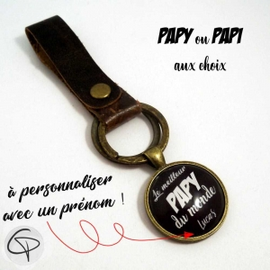 Porte-clé personnalisé en cuir meilleur papy du monde
