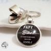 papy biker porte-clef personnalisé médaille message breloque casque moto