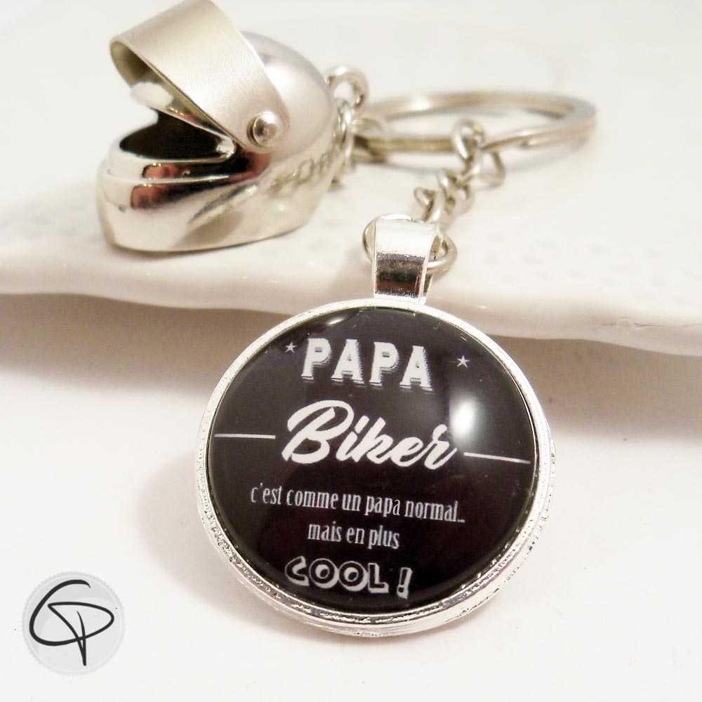 Porte-clé casque de moto personnalisé papa biker