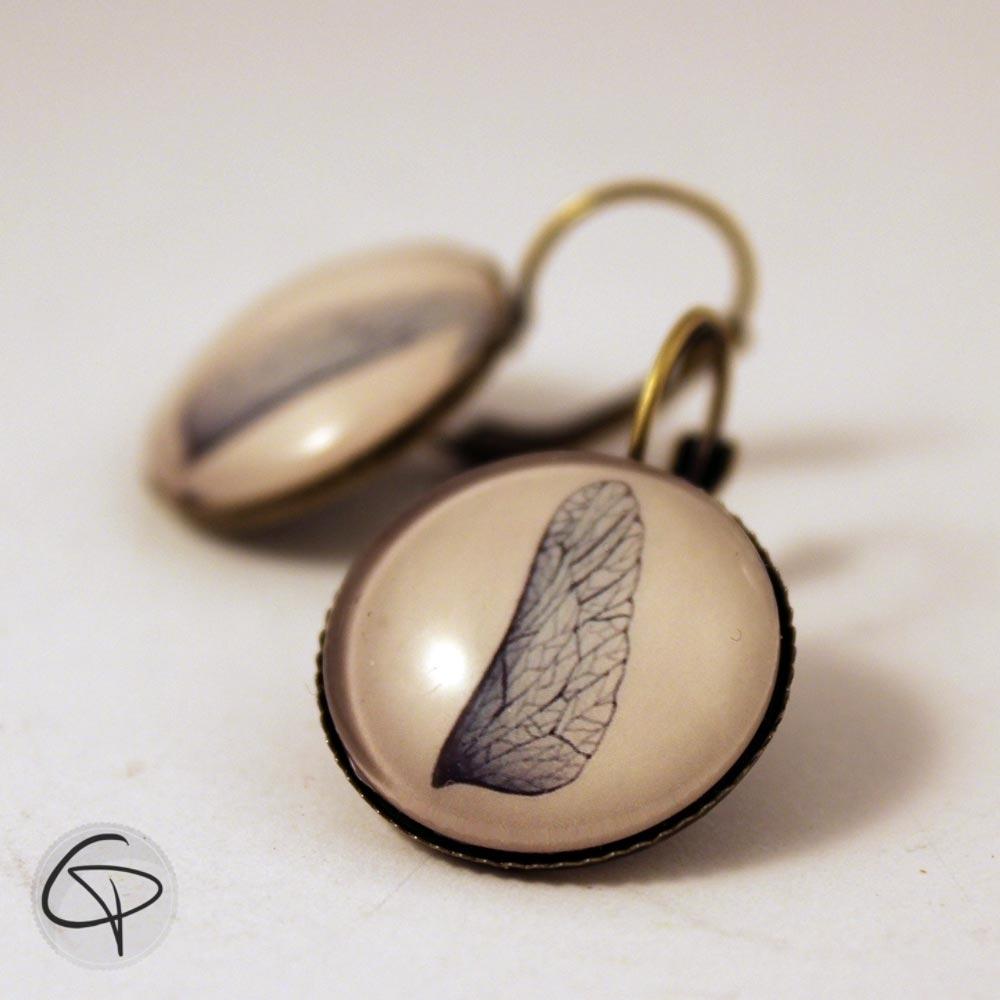 boucles d'oreilles bijou fait main dessin aile de libellule