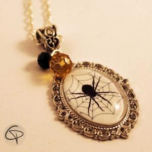 sautoir pendentif dessin araignée descend bijou halloween femme