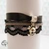 bracelet crâne argenté dentelle noire bijou délicat féminin rock'n'roll