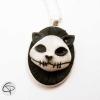 pendentif crâne de chat tête relief bijou femme fait main halloween