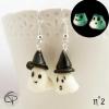 boucles d'oreilles fantômes luminescents éclairent la nuit modelés main bijoux originaux halloween