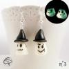 paire boucles d'oreilles mignon fantôme fluorescent la nuit bijoux originaux halloween