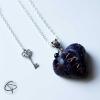 pendentif coeur en sang violet bijou original halloween