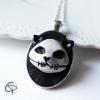 pendentif médaillon tête de chat relief 3d bijou halloween