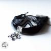 bracelet sexy dentelle tête de mort argentée