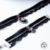 collier tour-de-cou ras-du-cou dentelle noire crâne 3d
