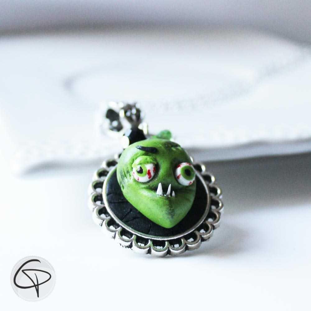 pendentif zombie tête de monstre vert bijou halloween