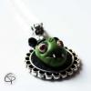 collier pendentif tête de monstre vert bijou halloween