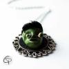 pendentif tête de monstre vert 3D bijou halloween