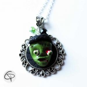 pendentif zombie mort vivant vert bijou halloween