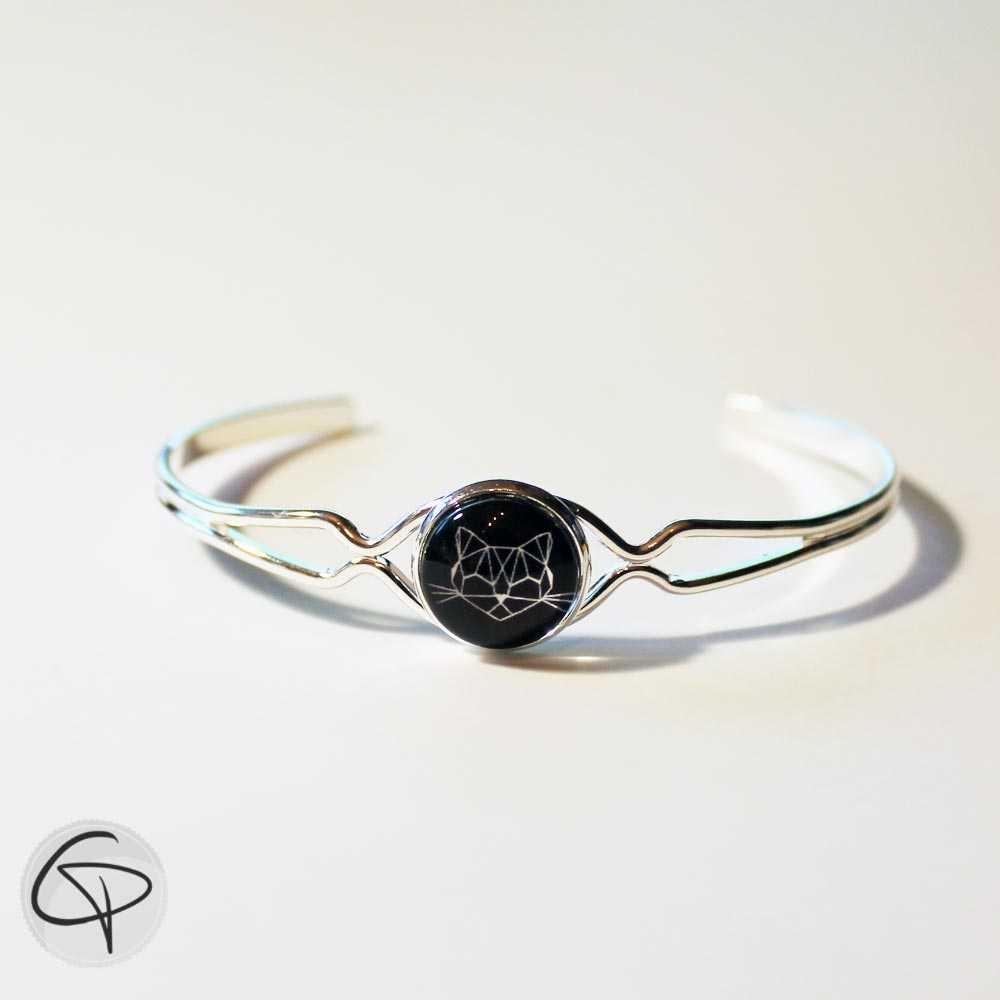bracelet argenté médaillon rond chat noir origami bijou femme