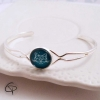 bracelet argenté médaillon rond chat bleu vert émeraude origami bijou femme