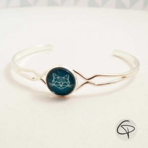 bracelet délicat femme dessin tête de chat géométrique bleu vert émeraude métal argenté