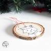 Suspension sapin rondin bois peint mignon chat décoration Noël
