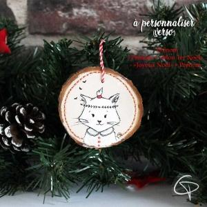 suspension originale personnalisé sapin noel chat peint main
