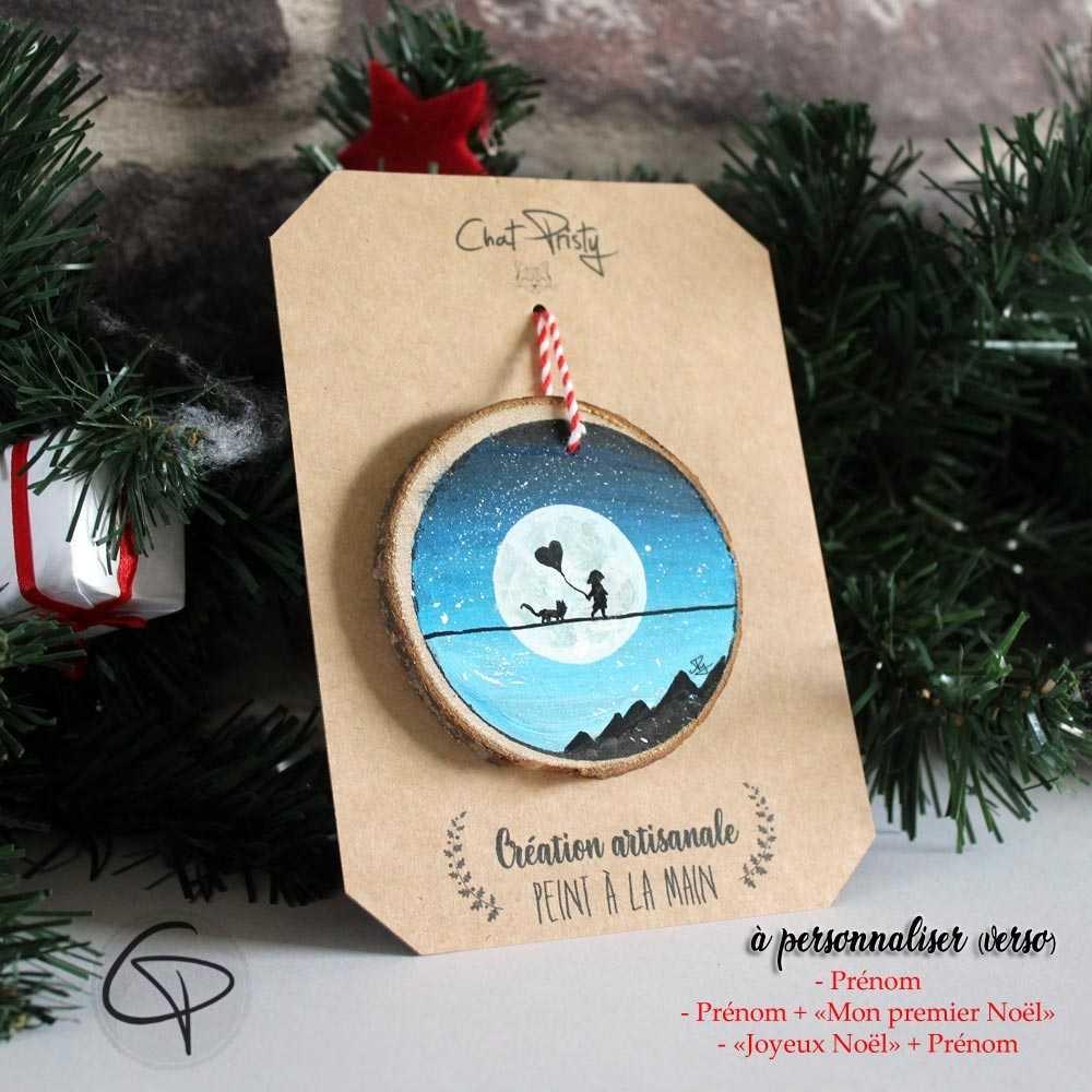 Suspension sapin bois peint silhouette Lune décoration Noël personnalisable