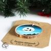 décoration en bois pour sapin silhouette enfant chat lune peint main
