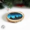 Suspension personnalisée rondin bois forêt nuit étoilée décoration sapin Noël