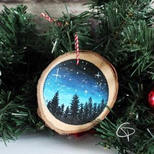 Suspension personnalisable bois forêt nuit étoilée décoration sapin Noël