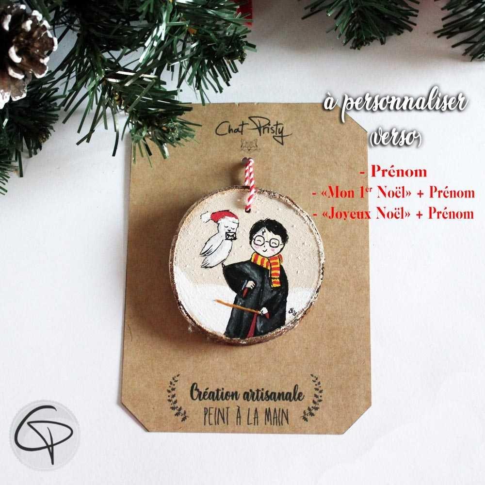 Suspension sapin bois peint Harry Potter décoration Noël personnalisée