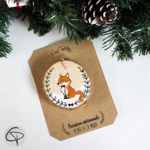 Suspension sapin bois peint renard décoration Noël à personnaliser