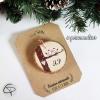 Suspension sapin bois couple oiseaux amoureux décoration Noël à personnaliser