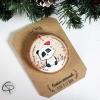 Suspension personnalisable sapin rondin bois peint mignon panda décoration Noël
