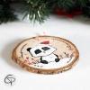 Suspension personnalisable sapin bois peint mignon panda décoration Noël