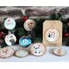 décoration bois sapin noel suspensions peintes main chat pristy