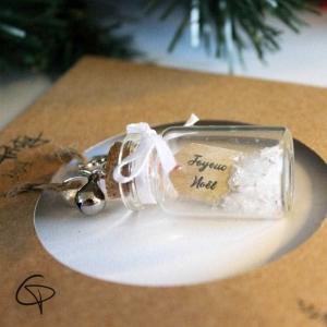 Décoration sapin de Noël fiole avec message remerciement