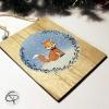 Plaque en bois personnalisable renard avec noeud papillon décoration murale