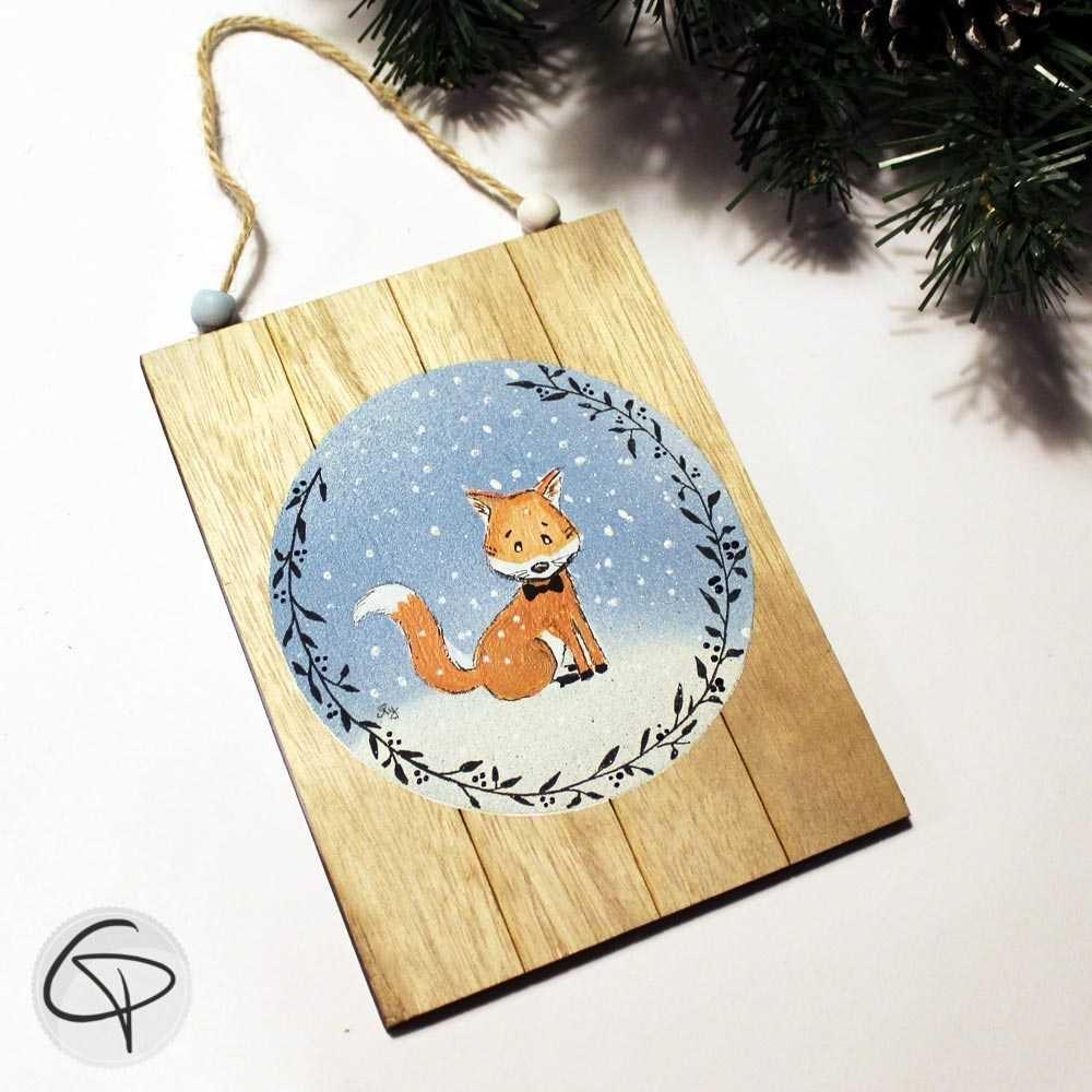 Plaque en bois personnalisable renard avec noeud papillon
