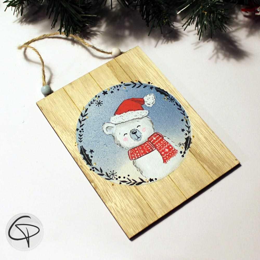 Plaque en bois personnalisable ourson blanc décoration murale cadeau Noël