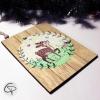 Plaque en bois petit faon peint main personnalisé pour Noël